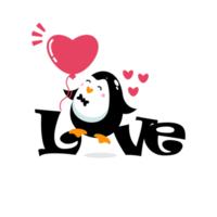icône de pingouin avec lettrage d'amour vecteur