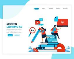 illustration vectorielle de l'efficacité de l'apprentissage moderne 4.0 de l'éducation numérique, l'apprentissage, la scolarité. dessin animé plat pour page de destination, modèle, ui ux, web, site Web, application mobile, bannière, flyer, brochure