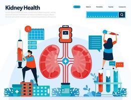 illustration pour vérifier la santé des reins. maladies et troubles du rein. contrôle et manipulation des organes internes. conçu pour la page de destination, le modèle, l'interface utilisateur, le site Web, l'application mobile, le dépliant, la brochure vecteur