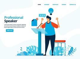 illustration humaine de vecteur de haut-parleur professionnel. l'homme qui parle sur le podium. peut utiliser pour la page de destination, le modèle, le Web, l'application mobile, l'affiche, la bannière, le dépliant, l'arrière-plan, le site Web, la publicité