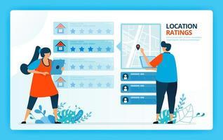illustration vectorielle pour l'évaluation de l'emplacement et la location de la maison. personnages de dessins animés de vecteur humain. conception de pages de destination, web, site Web, page Web, applications mobiles, bannière, flyer, brochure, affiche