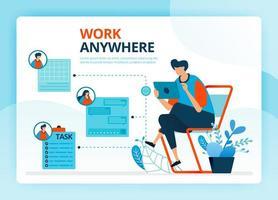 illustration vectorielle pour travailler n'importe où et des emplois indépendants. personnages de dessins animés de vecteur humain. conception de pages de destination, web, site Web, page Web, applications mobiles, bannière, flyer, brochure, affiche