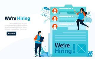 personnes à la recherche d'employés avec des mots que nous embauchons, illustration vectorielle de concept. peut utiliser pour la page de destination, le modèle, l'interface utilisateur, le web, l'application mobile, l'affiche, la bannière, le dépliant, l'arrière-plan, le site Web, la publicité vecteur