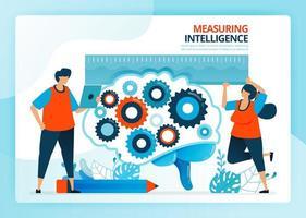 illustration vectorielle pour mesurer et développer l'intelligence de l'éducation. personnages de dessins animés de vecteur humain. conception de pages de destination, web, site Web, page Web, applications mobiles, bannière, flyer, brochure, affiche