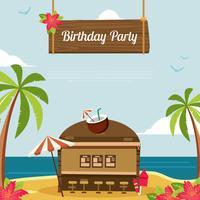 Modèle de fête d'anniversaire tropical vecteur