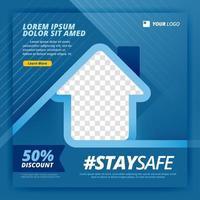 affiche de vecteur de rester en sécurité pour le travail des campagnes à domicile