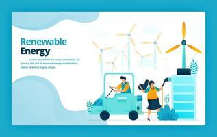 illustration vectorielle de la page de destination des stations de charge de batterie de voiture électrique avec énergie verte provenant de centrales éoliennes. conception pour site Web, web, bannière, applications mobiles, affiche, brochure, modèle vecteur