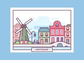 Carte postale du vecteur d'Amsterdam