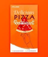 modèle d'affiche de livraison gratuite de pizza rapide pour les histoires de médias sociaux et la bannière publicitaire vecteur
