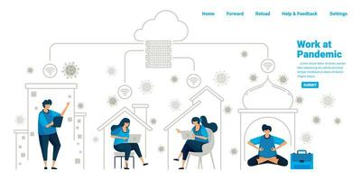 les personnes travaillant à l'intérieur de leur domicile à l'aide d'un serveur cloud et d'une technologie de centre de données pendant la nouvelle pandémie normale. conception d'illustration de la page de destination, site Web, applications mobiles, affiche, flyer, bannière