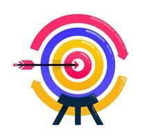conception pour atteindre les objectifs, les objectifs commerciaux, les flèches et les fléchettes, la motivation commerciale, le rechargement et la rotation du cercle. peut également être utilisé pour les affaires, la conception d'icônes et les éléments graphiques vecteur