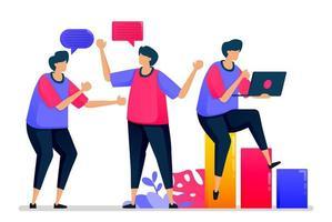 les gens discutent entre eux, ont des conversations informelles et se disent bonjour lorsqu'ils retournent au travail. les illustrations peuvent être utilisées pour les sites Web, les pages Web, les pages de destination, les applications mobiles, les bannières, les dépliants, les affiches vecteur