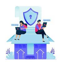 illustration vectorielle pour la garantie de sécurité dans les expéditions de fret. boîte de sécurité dans la livraison et l'importation de produits e-commerce. peut être utilisé pour la page de destination, le site Web, le Web, les applications mobiles, les affiches, les dépliants vecteur