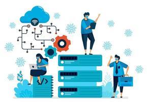 illustration vectorielle de la plate-forme de cloud computing pour prendre en charge un nouveau travail normal. technologie de base de données pour la pandémie de covid-19. la conception peut être utilisée pour la page de destination, le site Web, l'application mobile, l'affiche, les dépliants, la bannière vecteur