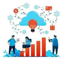 illustration vectorielle de travail pendant la pandémie de covid 19 avec le cloud computing. nouveau réseau normal de sécurité financière. la conception peut être utilisée pour la page de destination, le site Web, l'application mobile, l'affiche, les dépliants, la bannière vecteur