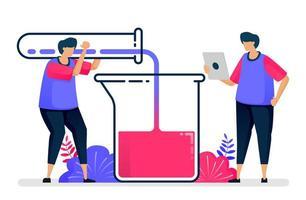 illustration vectorielle plane d'expérience avec des tubes à essai et des béchers. apprentissage et étude de la chimie. conception pour les soins de santé. peut être utilisé pour la page de destination, le site Web, le Web, les applications mobiles, les affiches, les dépliants vecteur