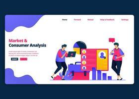 modèle de bannière de dessin animé de vecteur pour l'analyse du marché et des clients avec des statistiques. modèles de conception créative de page de destination et de site Web pour les entreprises. peut être utilisé pour le Web, les applications mobiles, les affiches, les dépliants