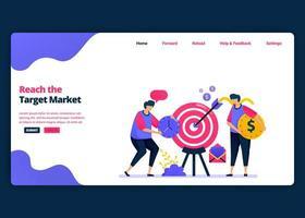 modèle de bannière de dessin animé de vecteur pour atteindre le marché cible, les bénéfices et les ventes aux clients. modèles de conception créative de page de destination et de site Web pour les entreprises. peut être utilisé pour le Web, les applications mobiles, les affiches, les dépliants