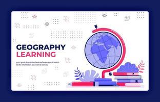 illustration vectorielle de page de destination de l'apprentissage de la géographie. cartographie pour la lecture de globe, cartes, atlas du monde. peut être utilisé pour le modèle de bannière d'élément de fond d'affiche de site Web d'applications mobiles vecteur