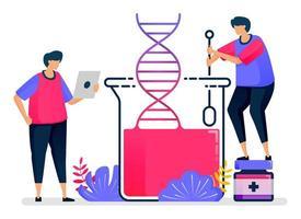 illustration vectorielle plane des expériences d'ADN avec la chimie du verre. apprentissage de la biologie et de la génétique. conception pour les soins de santé. peut être utilisé pour la page de destination, le site Web, le Web, les applications mobiles, les affiches, les dépliants