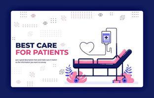 illustration vectorielle de page de destination des meilleurs soins pour les patients. réservation d'un lit d'hôpital avec perfusion et tuyau d'amour. peut être utilisé pour le modèle de bannière d'élément de fond d'affiche de site Web d'applications mobiles vecteur