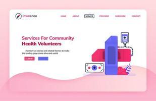 modèle d'illustration de page de destination du service pour les bénévoles en santé communautaire. symbole de croix avec un bandage. thèmes de santé. peut être utilisé pour la page de destination, le site Web, le Web, les applications mobiles, l'affiche, le dépliant vecteur