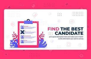 illustration vectorielle affiche de trouver le meilleur candidat. sélectionner les employés avec note, opinion, rétroaction et avis peut être utilisé pour le modèle de bannière d'élément de fond de site Web applications mobiles vecteur