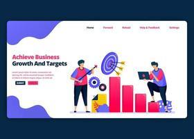 modèle de bannière de dessin animé vectoriel pour atteindre les objectifs de croissance des bénéfices et d'emplois modèles de conception créative de page de destination et de site Web pour les entreprises. peut être utilisé pour le Web, les applications mobiles, les affiches, les dépliants
