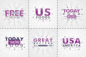 Livre de cuisine violet pour magazines de cuisine et de recettes. titres de menu de restaurant ou badges pour les magasins d'alimentation et les restaurants design minimaliste pour bannières de recettes vecteur