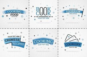 livre de cuisine bleu pour magazines de cuisine et de recettes. titres de menu de restaurant ou badges pour les magasins d'alimentation et les restaurants design minimaliste pour bannières de recettes vecteur