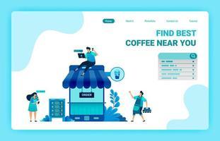 page de destination du café avec téléphone et toit. café métaphore 4.0 avec Internet. applications mobiles de bar à café pour acheter une critique positive. modèle de conception de vecteur pour le web, sites Web, site, bannière, flyer
