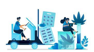 illustrations vectorielles de cannabis. fabrication et distribution de marijuana pour l'industrie médicale et la santé. peut être utilisé pour la page de destination, le site Web, le Web, les applications mobiles, la bannière de flyer, le modèle, l'affiche vecteur