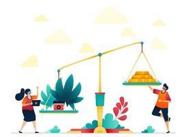 la métaphore de la valeur du cannabis est plus que l'or. économie sur l'or et la marijuana. médecine traditionnelle coûteuse avec des herbes. illustration vectorielle pour site Web, applications mobiles, bannière, modèle, affiche vecteur
