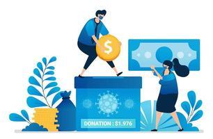 illustration vectorielle de don d'argent pour la manipulation de covid-19. charité pour l'économie des personnes touchées par la pandémie. peut être utilisé pour le site Web, le Web, les applications mobiles, le dépliant, la bannière, le modèle, l'affiche vecteur