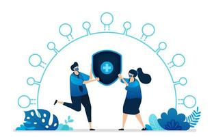 illustration vectorielle des services d'assurance maladie pour le virus covid-19. symbole de bouclier croix de santé. peut être utilisé pour la page de destination, le site Web, le Web, les applications mobiles, la bannière de flyer, le modèle, l'affiche vecteur