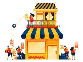 vente en ligne avec un service de livraison e-commerce. shophouse avec appartement. le concept d'illustration vectorielle peut être utilisé pour, page de destination, modèle, ui ux, web, application mobile, affiche, bannière, site Web, flyer vecteur