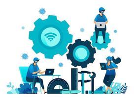 illustration vectorielle de bourses de formation professionnelle et d'apprentissage en ligne pour soutenir les ressources humaines pendant la pandémie du virus covid-19. symboles de machines-outils. page de destination, web, site Web, bannière vecteur