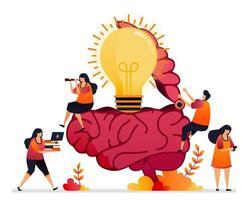 illustration vectorielle de la recherche d'idées, de solutions, d'ouvrir votre esprit créatif. symbole du cerveau de l'inspiration. conception graphique pour page de destination, web, site Web, applications mobiles, bannière, modèle, affiche, flyer vecteur