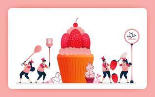 illustration alimentaire de cuire des cupcakes aux fraises sucrées halal. faire cuire des collations de gaufrettes au chocolat pour garnir les muffins. la conception peut être utilisée pour le site Web, le Web, la page de destination, la bannière, les applications mobiles, l'interface utilisateur, l'affiche, le dépliant vecteur