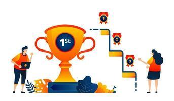 les gens obtiennent des médailles de trophées pour les première, deuxième, troisième places. célébrer la victoire. le concept d'illustration vectorielle peut être utilisé pour la page de destination, le modèle, l'interface utilisateur, le web, l'application mobile, l'affiche, la bannière, le site Web, le dépliant
