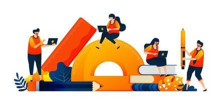 les étudiants s'assoient à la papeterie pendant leurs études. équipement d'apprentissage en classe. le concept d'illustration vectorielle peut être utilisé pour la page de destination, le modèle, l'interface utilisateur, le web, l'application mobile, l'affiche, la bannière, le site Web, le dépliant vecteur