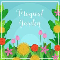 Illustration vectorielle de plat magique jardin vecteur