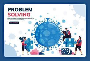 illustration vectorielle de page de destination du travail d'équipe et du brainstorming pour résoudre les problèmes et trouver des solutions pendant la pandémie du virus covid-19. symbole de collaboration, virus, puzzle. web, site web, bannière vecteur