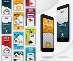 maquette de smartphone avec modèle de médias sociaux à balayage, adapté à la vente au détail, à l'alimentation, à la boulangerie, au marketing, à la publicité sur Internet et à la promotion en ligne. peut utiliser pour, page de destination, modèle, interface utilisateur, web, application mobile