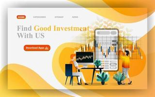 trouver une bonne illustration Web de vecteur d'investissement, les gens analysent les données pour prendre une décision sur le marché financier. facile à utiliser pour site Web, bannière, brochure, flyer, impression, mobile, application, affiche, modèle, ui ux