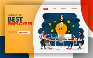 concept d'illustration vectorielle du meilleur employé qui donne la meilleure idée et inspire les gens qui travaillent mieux. Facile à utiliser pour site Web, bannière, page de destination, brochure, flyer, impression, mobile, app, affiche, vecteur