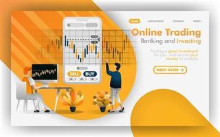 trading en ligne forex, banque, concept d'illustration vectorielle d'investissement, les gens déterminent l'investissement. facile à utiliser pour site Web, bannière, page de destination, brochure, dépliant, impression, mobile, affiche, modèle, interface utilisateur vecteur