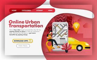concept d'illustration vectorielle plane de transport de ville urbaine mobile, service de taxi de livraison en ligne. facile à utiliser pour site Web, bannière, page de destination, brochure, dépliant, impression, application mobile, affiche, modèle, interface utilisateur vecteur