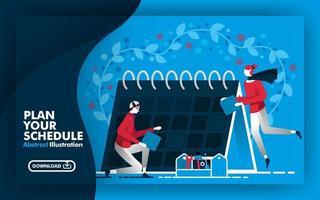 bannière web illustration vectorielle abstraite et affiche en bleu et bleu foncé avec titre planifiez votre horaire. les personnes travaillant autour du calendrier et déterminent le calendrier convient à l'impression. style de bande dessinée plat vecteur