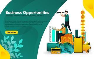 les gens se tiennent dans des tas d'argent et voient des opportunités d'affaires avec des jumelles. peut utiliser pour, page de destination, interface utilisateur, web, application mobile, affiche, bannière, flyer, promotion, marketing, finance, trading vecteur